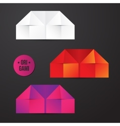 paper origami house icon Colorful origamy vector image