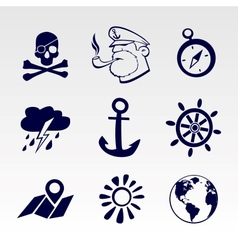 Seafaring icons set vector