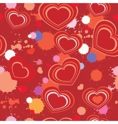 seamless background with hearts and splashes vector image vector image