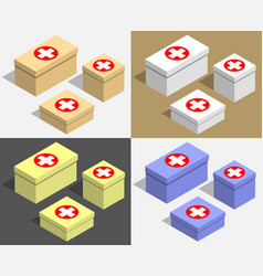 set of boxes of different sizes with medecine vector image vector image