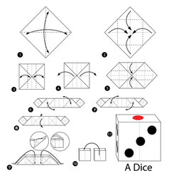 Step instructions how to make origami a dice vector