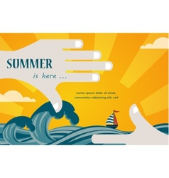 Summer view of a sea inside hand frame vector