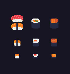 sushi and rolls pixel art icons set vector image vector image