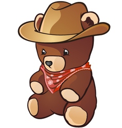 Teddy bear cowboy cartoon character vector