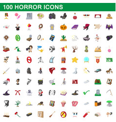 100 horror icons set cartoon style vector image