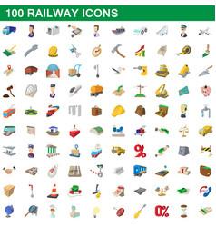 100 railway icons set cartoon style vector image vector image