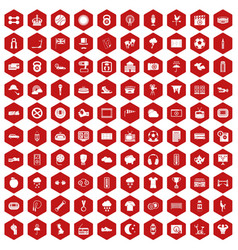 100 soccer icons hexagon red vector