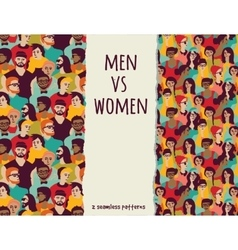 Men vs women crowd people color seamless patterns vector