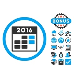 2016 month calendar flat icon with bonus vector