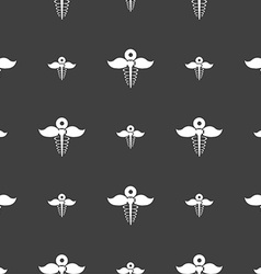 Health care icon sign Seamless pattern on a gray vector image