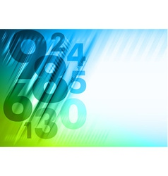 abstract numbers corner blue green vector image