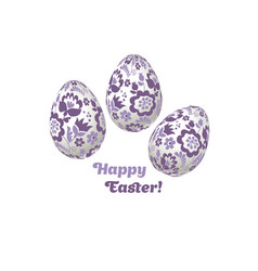 pale color easter egg decoration  floral vector image