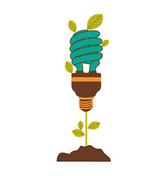 plant stem with leaves and fluorescent bulb spiral vector image