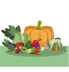 Vegetables healthy fresh ingredients vector