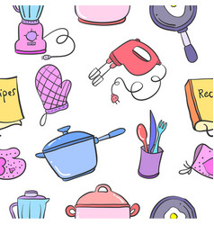 collection of kitchen set pattern vector image