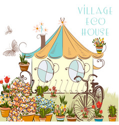 Nice with little village house vector
