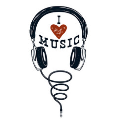 I love music hand drawn headphones design vector