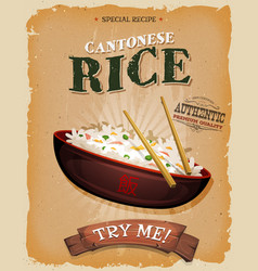 fried rice with asian chopsticks on vintage poster vector image
