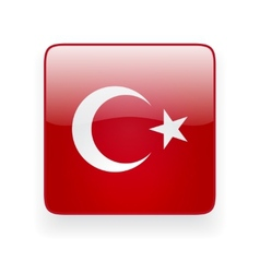 Square icon with flag of turkey vector