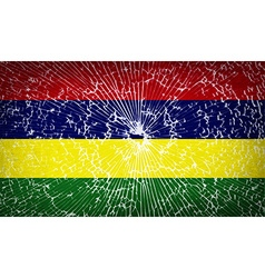 Flags mauritius with broken glass texture vector