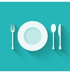 Plate with cutlery - fork spoon and knife - long vector