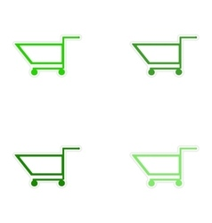 Assembly realistic sticker design on paper cart vector