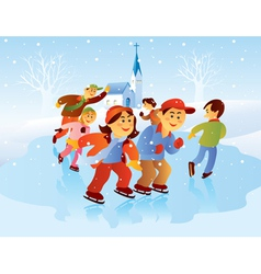 Kids playing ice skating vector