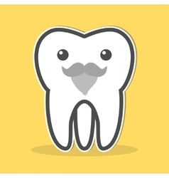 Wisdom tooth with a gray beard and mustache vector