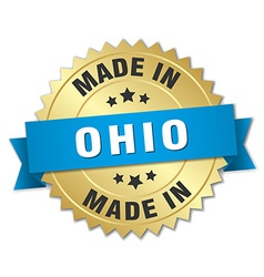 Made in ohio gold badge with blue ribbon vector