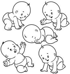 Baby toddler set with babies in diapers crawling vector image