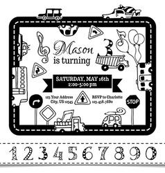 Birthday invitation template for boy vector image