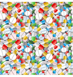 Bright different pills and capsules seamless vector