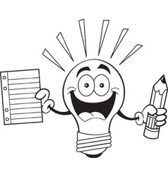 Cartoon light bulb holding a paper and pencil vector