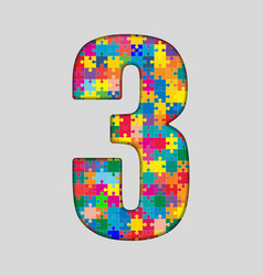 Color puzzle number - 3 three gigsaw piece vector