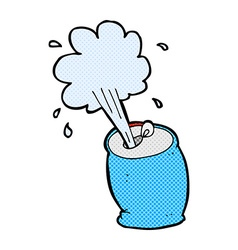 Comic cartoon fizzing soda can vector
