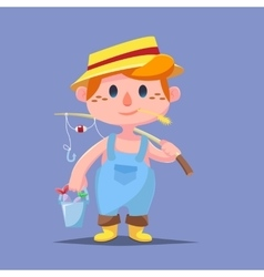 Cute catroon boy fishing vector