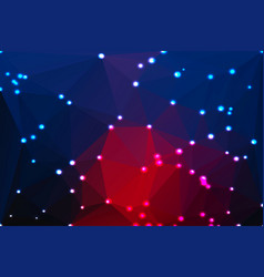 Deep blue and red geometric background with lights vector