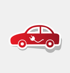 Electric car sign new year reddish icon vector