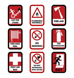 Fire caution signs vector image