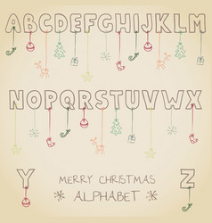 funny christmas alphabet vector image vector image