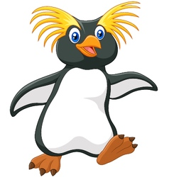 Happy cartoon penguin rockhopper cartoon vector