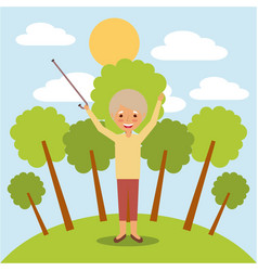 happy grandmother with arms up in the park vector image