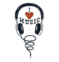 i love music hand drawn headphones design vector image