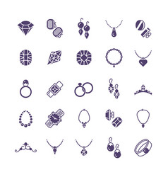 jewelry silhouette icons set earrings with vector image