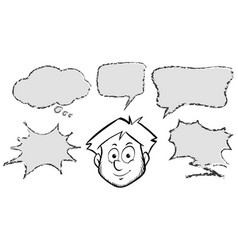 Man with different speech bubbles vector