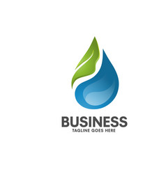 Natural healthy water leaf logo vector
