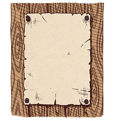 Old paper on a wooden wall vector image