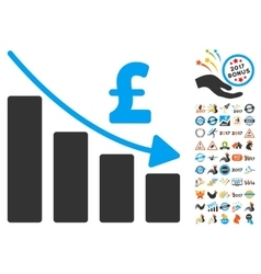 Pound recession bar chart icon with 2017 year vector