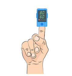 Pulse oximeter icon pulse measurement determining vector