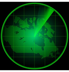 Radar screen with the silhouette of Canada vector image vector image